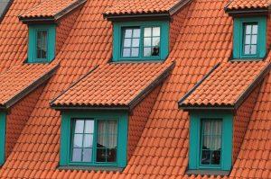 Tegeltak med många takfönster (kupoler)